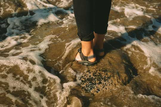 Standing in water in Chacos