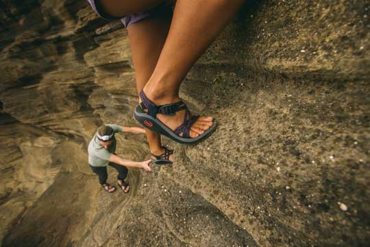 Hiking on rocks in Chacos