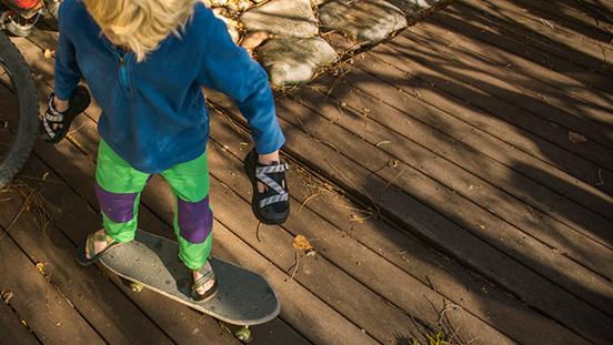 Kid on a skateboard