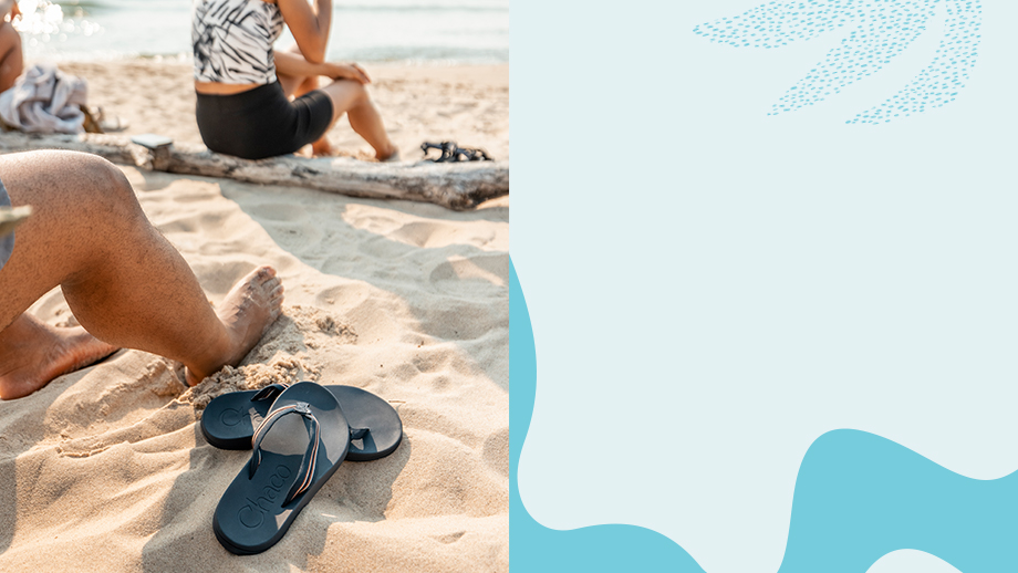 Relaxing on the beach with a pair of Chillos flips.