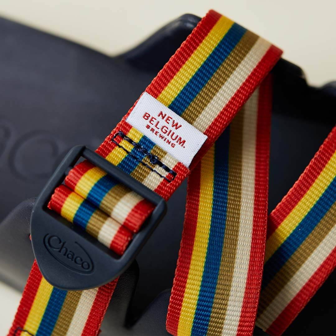 Detail showing custom badge of a chillos, New Belgium Brewing collaborative sandal.