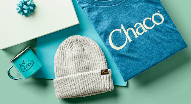 Chaco mug, hat, and shirt bundled together.