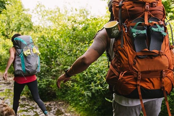 Two people backpacking