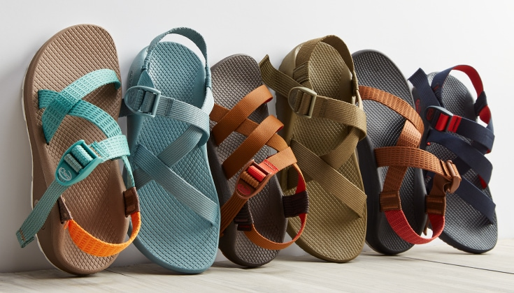 Row of Z Sandals in a variety of colors