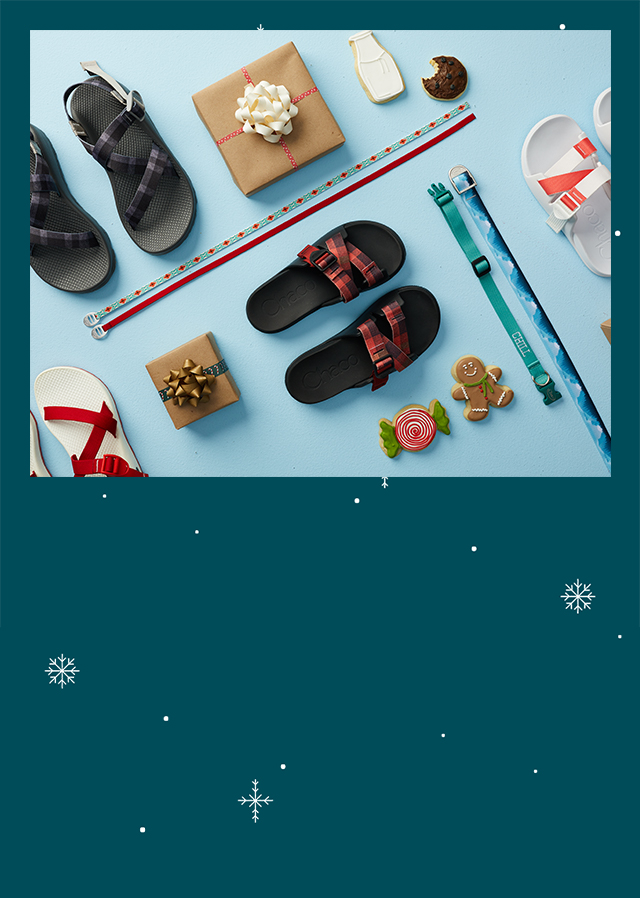 Custom Chacos with snow background.