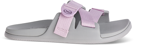 Grey women's Chillos with pink straps.
