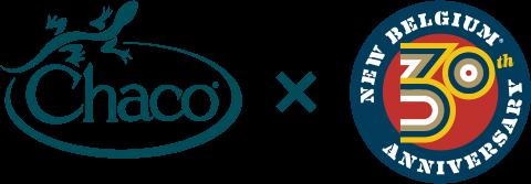 Chaco x New Belgium Brewing 30 year logo.