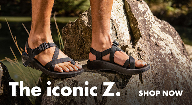 Standing on a boulder rocking some classic Z sandals.