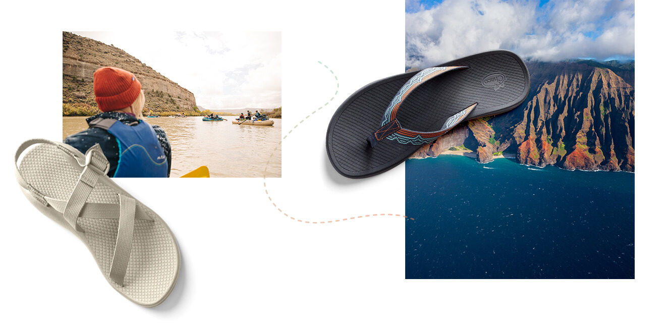 A collage showing a group of kayakers paddling a muddy river, and an arial view of coastal cliffs and dark sea.