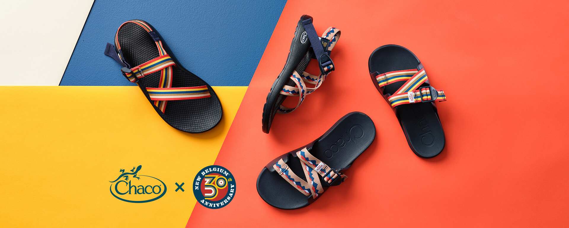Selection of Chaco and New Belgium Brewing collaborative sandals on a colorful, geometric background, with Chaco x New Belgium 30th anniversary logo.