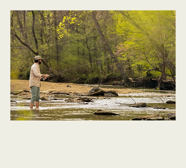 Man fishing in a river.