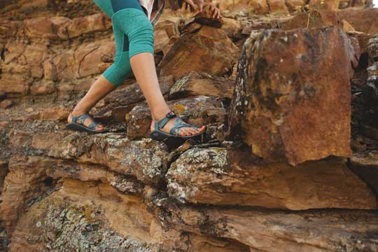 Hiking on rock in Chacos