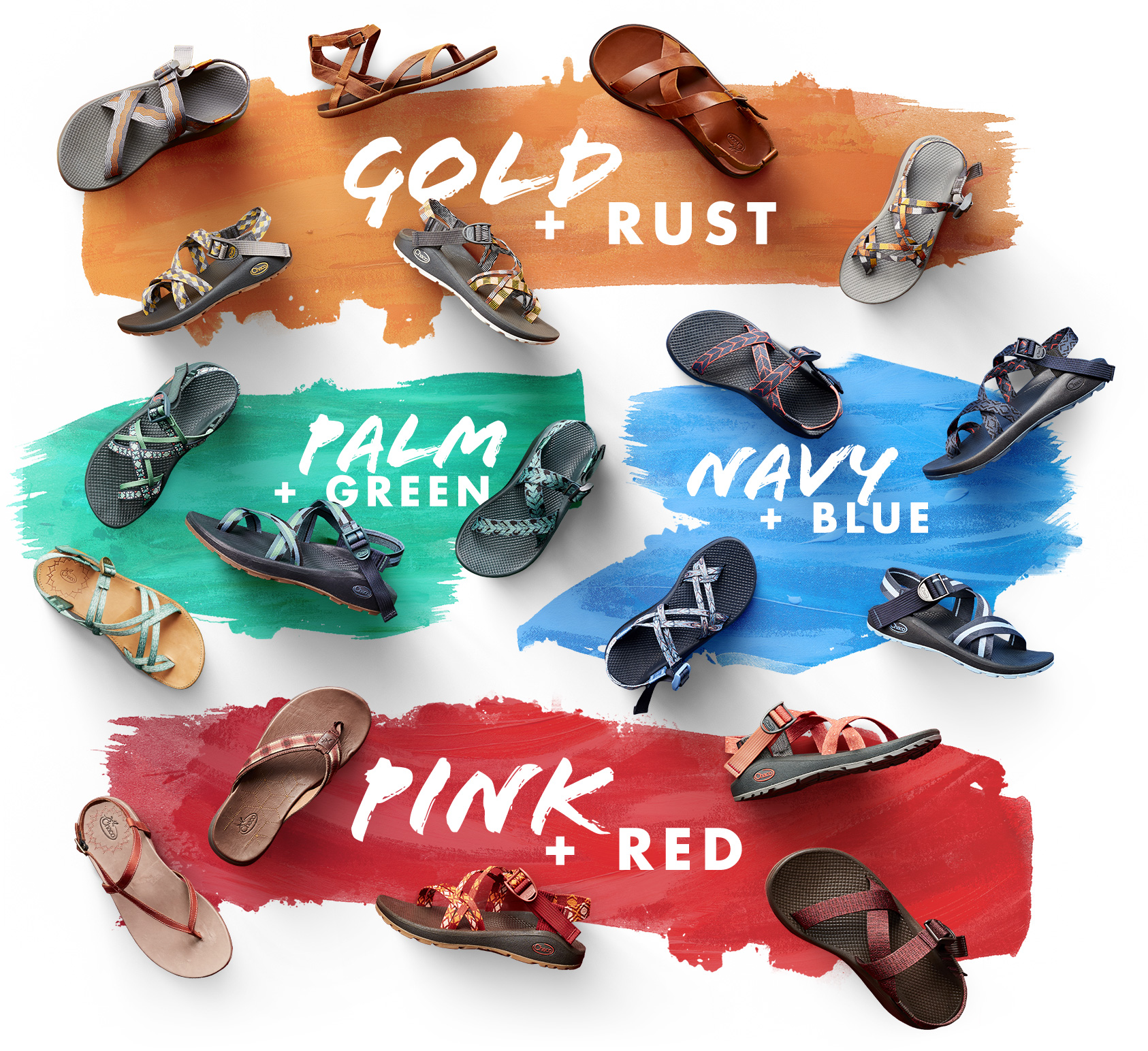 spring colors image: gold & rust, palm & green, navy & blue, pink & red
