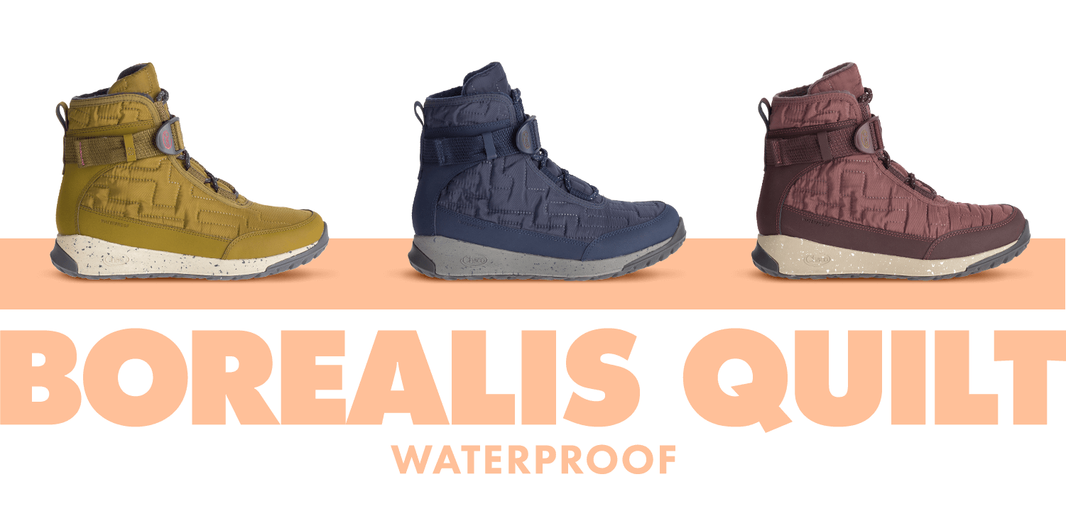 Seaweed, Denim and Mahogony colored Borealis Quilt Waterproof boots