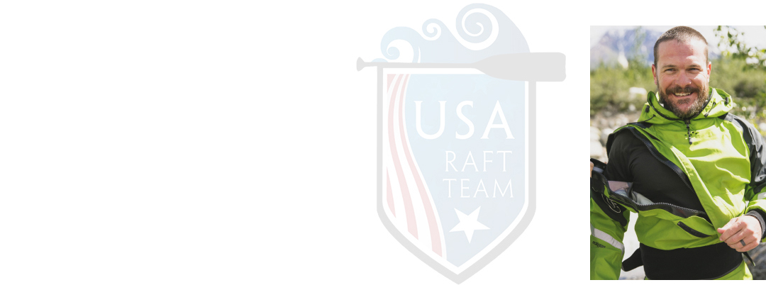 Collage: USA Rafting logo and a photo of John Mark Seelig.