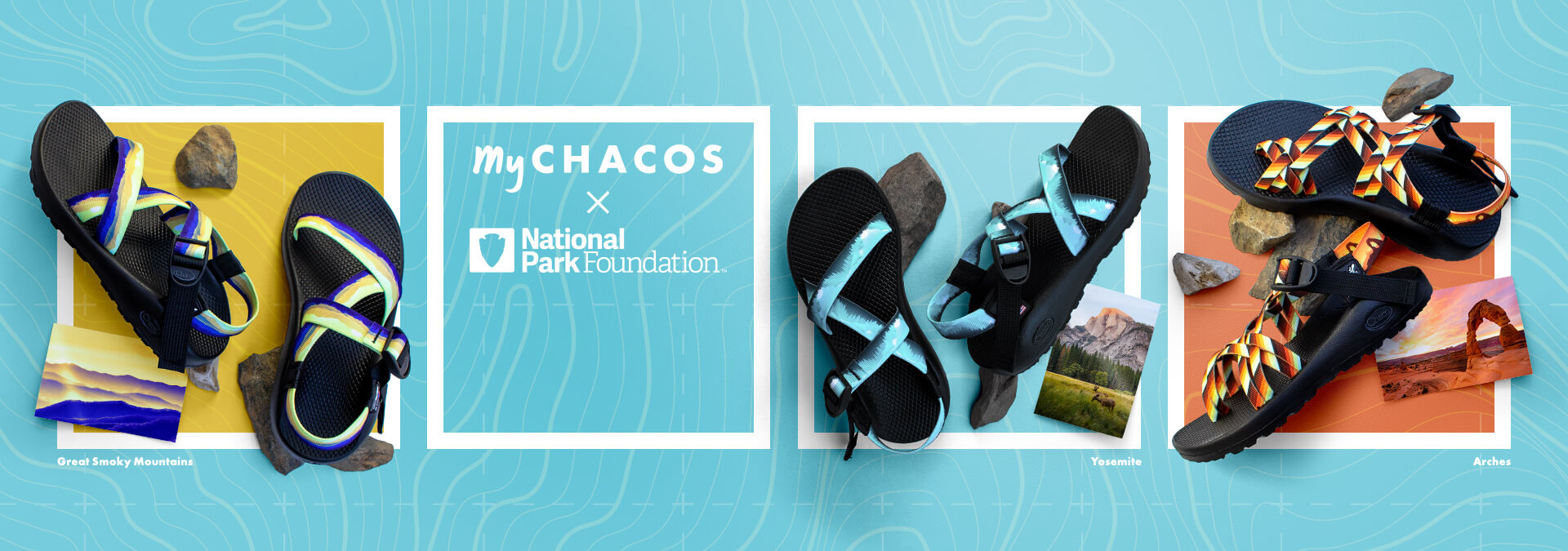 MyChacos X National Park Foundation Collection: colors reminiscent of Great Smoky Mountains, Yosemite and Arches.