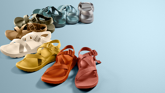 Various colors of monochromatic Chaco sandals