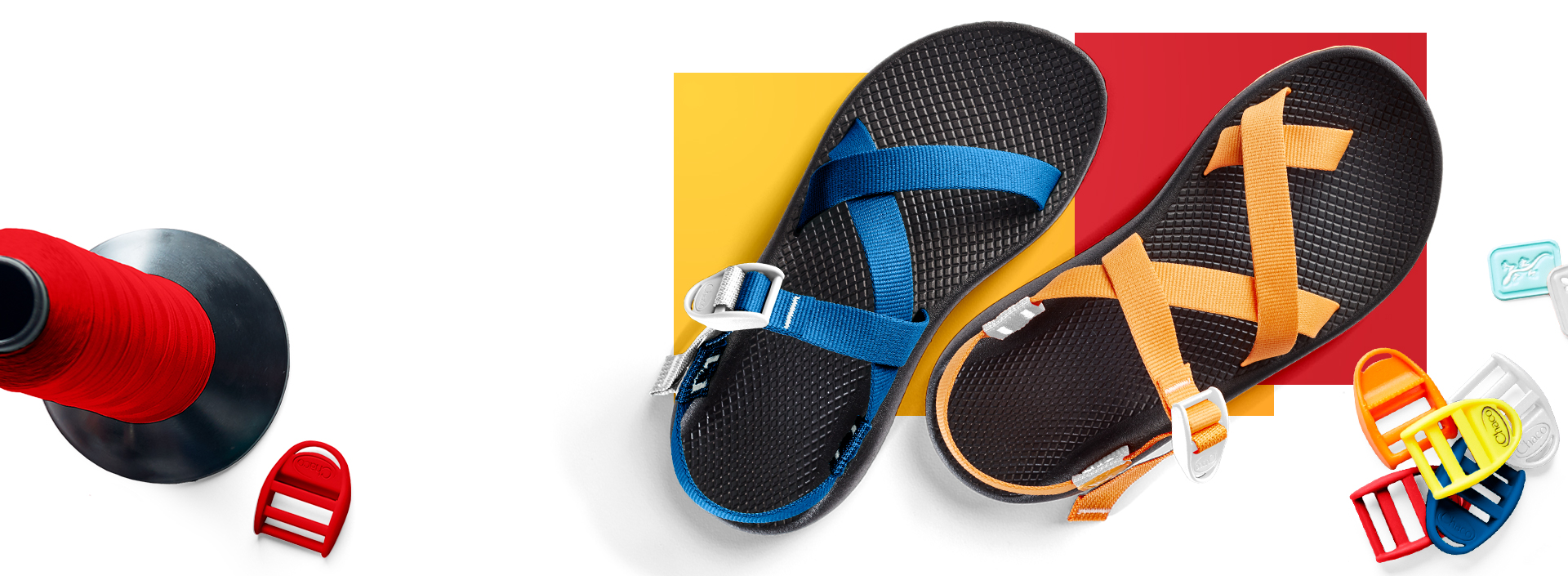 Chaco sandals with a spool and colored tiles