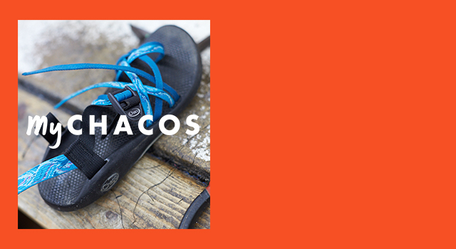 MyChacos logo on top of a pair of custom chacos.