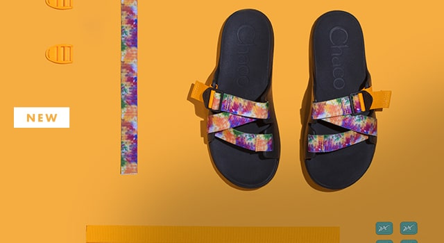 A pair of custom tie dye sandals.